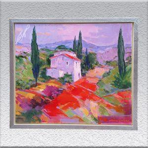 H. J. Menzinger: Toscana Ölgemälde, gerahmt, 67 cm x 77 cm, 980,- €