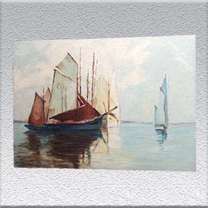 F. Leisse: Segelschiffe Ölgemälde, ungerahmt: 76 cm x 110 cm, 950,- €