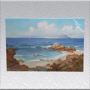 C. Rustenberg: med. Küstenlandschaft Ölgemälde, ungerahmt, 60 cm x 90 cm, 1100,- €
