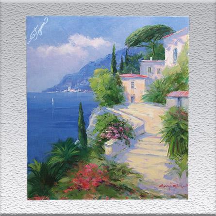 H. J. Menzinger:Häuser am azurblauen Meer Ölgemälde, ungerahmt, 70 cm x 60 cm, 870,- €