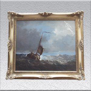 Seemann: Kutter in stürmischer See Ölgemälde, gerahmt mit Barockrahmen, 64 cm x 74 cm, 690,- €