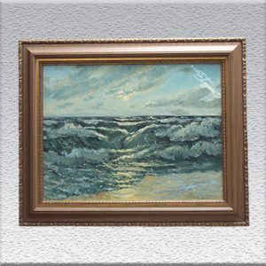 Berthold Mügge: Meeresbrandung Ölgemälde, gerahmt, 60 cm x 75 cm, 390,- €