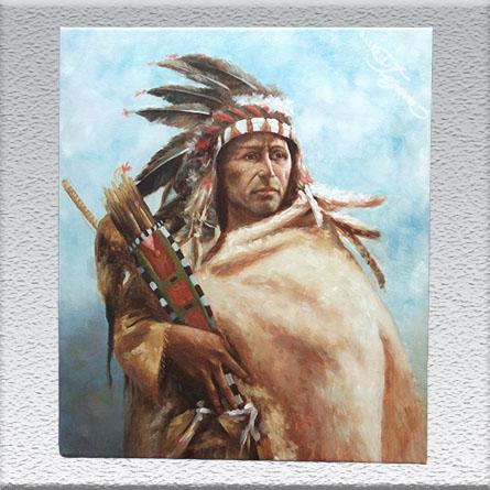 unsigniert, Indianer Ölgemälde, ungerahmt, 60 x 50 cm 180,- €