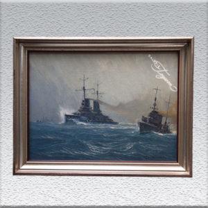 Robert Schmidt-Hamburg, Linienschiff mit Torpedo-Boot Ölgemälde, gerahmt, 50 x 64 cm 1690,- €