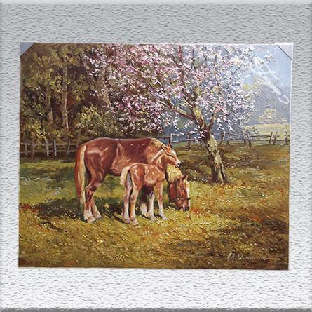 August A. Wendehals / Stute mit Fohlen, Ölgemälde, ungerahmt, 60 x 70 cm 950,- €